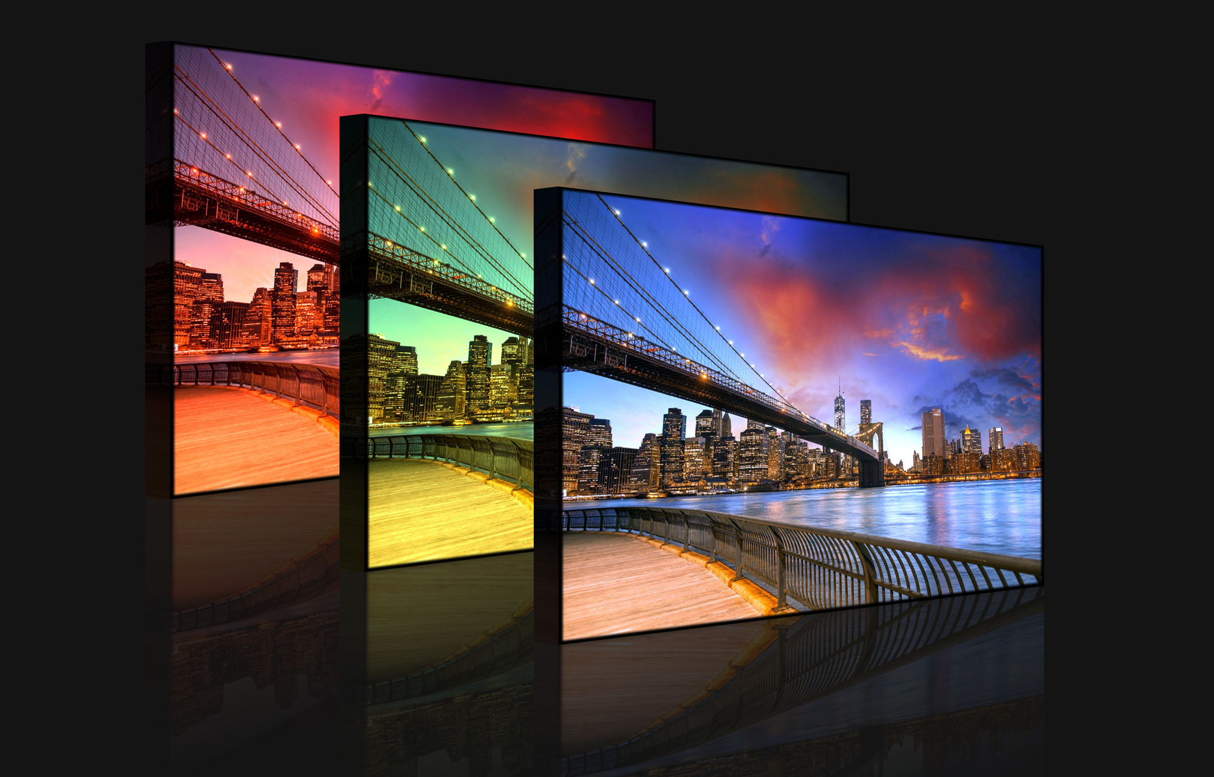 tableau illumin image led parc de brooklyn bridge new york front lighted ebay. Black Bedroom Furniture Sets. Home Design Ideas