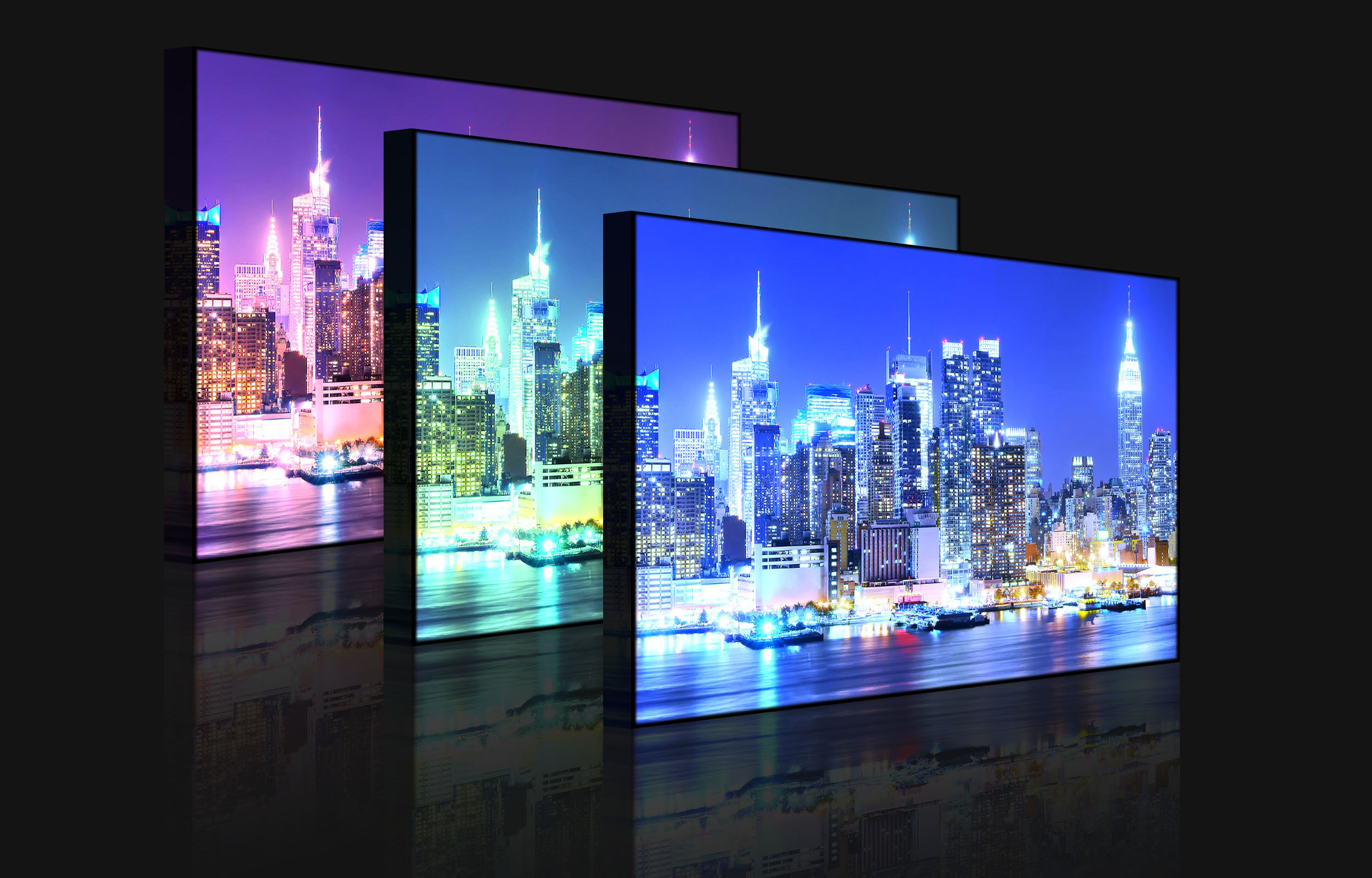 leuchtbild led bild new york city skyline br cke b. Black Bedroom Furniture Sets. Home Design Ideas