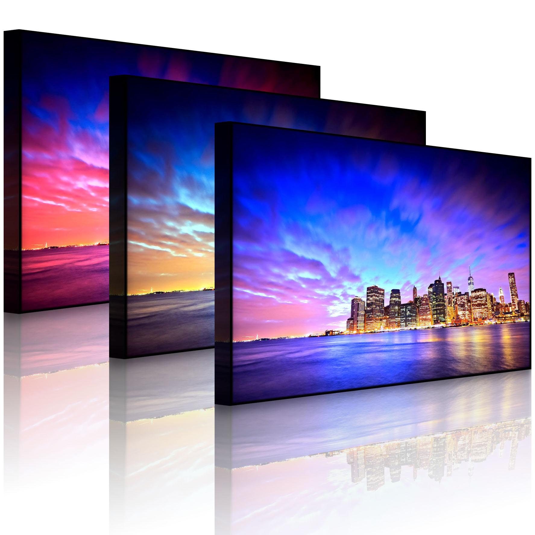 leuchtbild led bild skyline new york blick vom da. Black Bedroom Furniture Sets. Home Design Ideas
