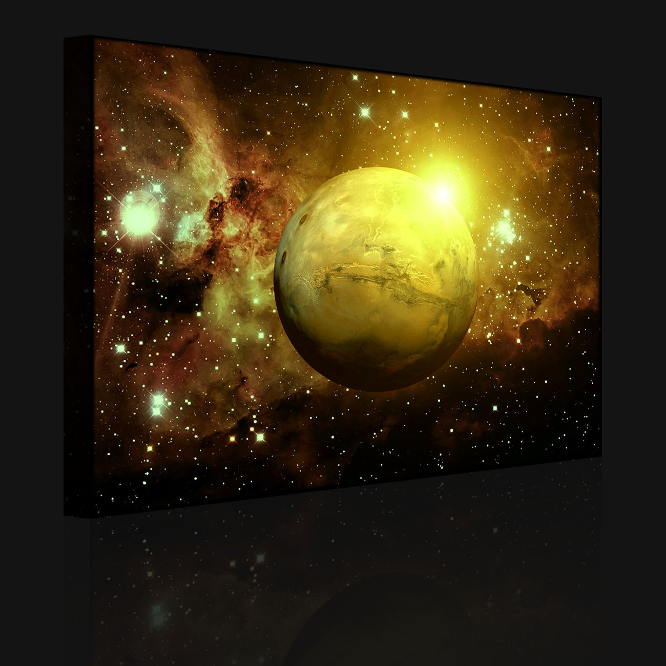Leuchtbild led bild planet mars im universum front for Dekoration universum