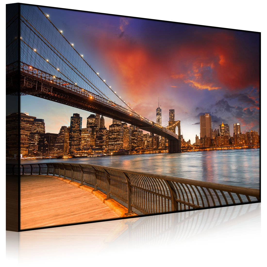 tableau illumin image led parc de brooklyn bridge new york front lighted ebay. Black Bedroom Furniture Sets. Home Design Ideas