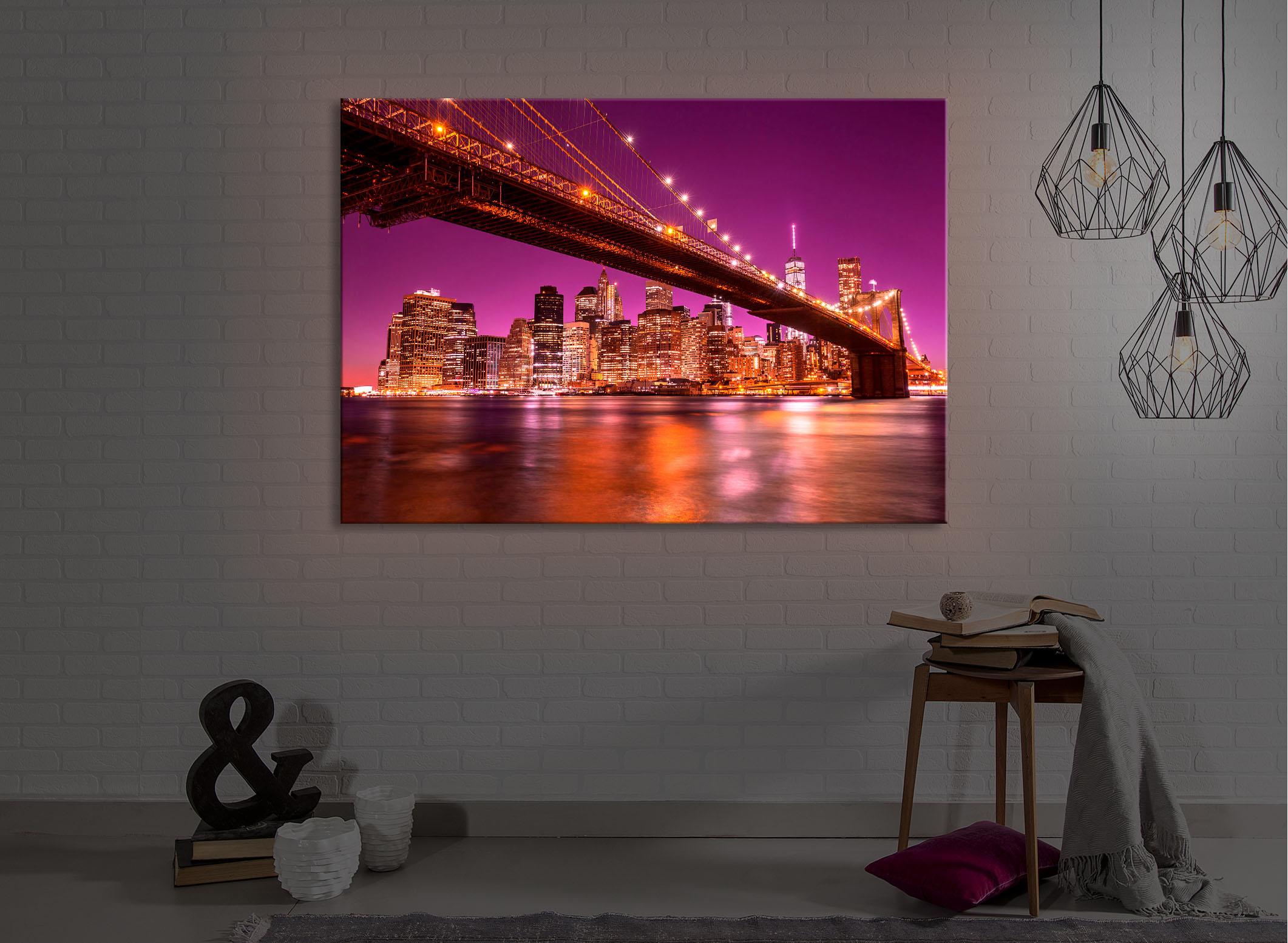 Quadro illuminato led skyline of manhattan fully lighted ebay