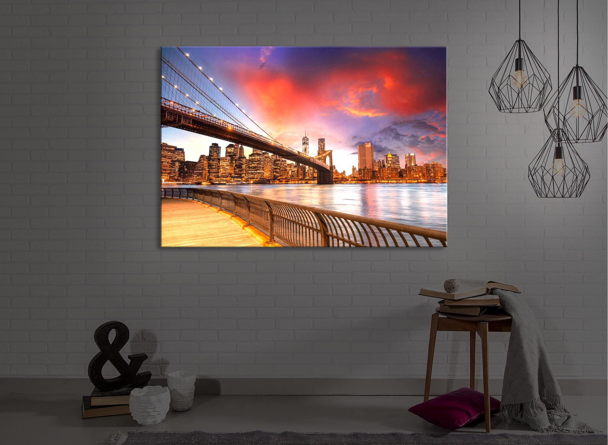 tableau illumin image led parc de brooklyn bridge new york fully lighted ebay. Black Bedroom Furniture Sets. Home Design Ideas