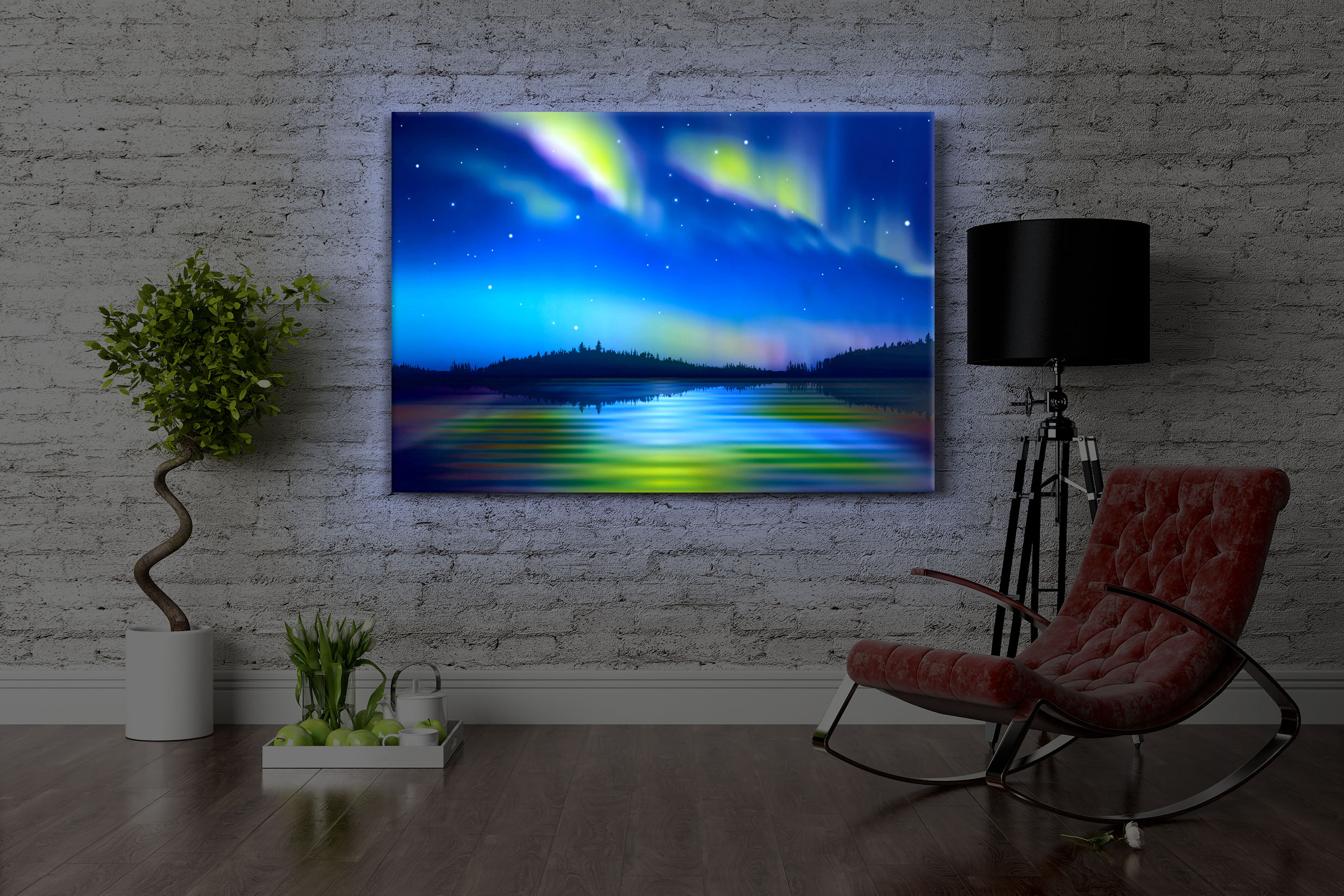 leuchtbild led bild polarlichter in alaska front lighted ebay. Black Bedroom Furniture Sets. Home Design Ideas