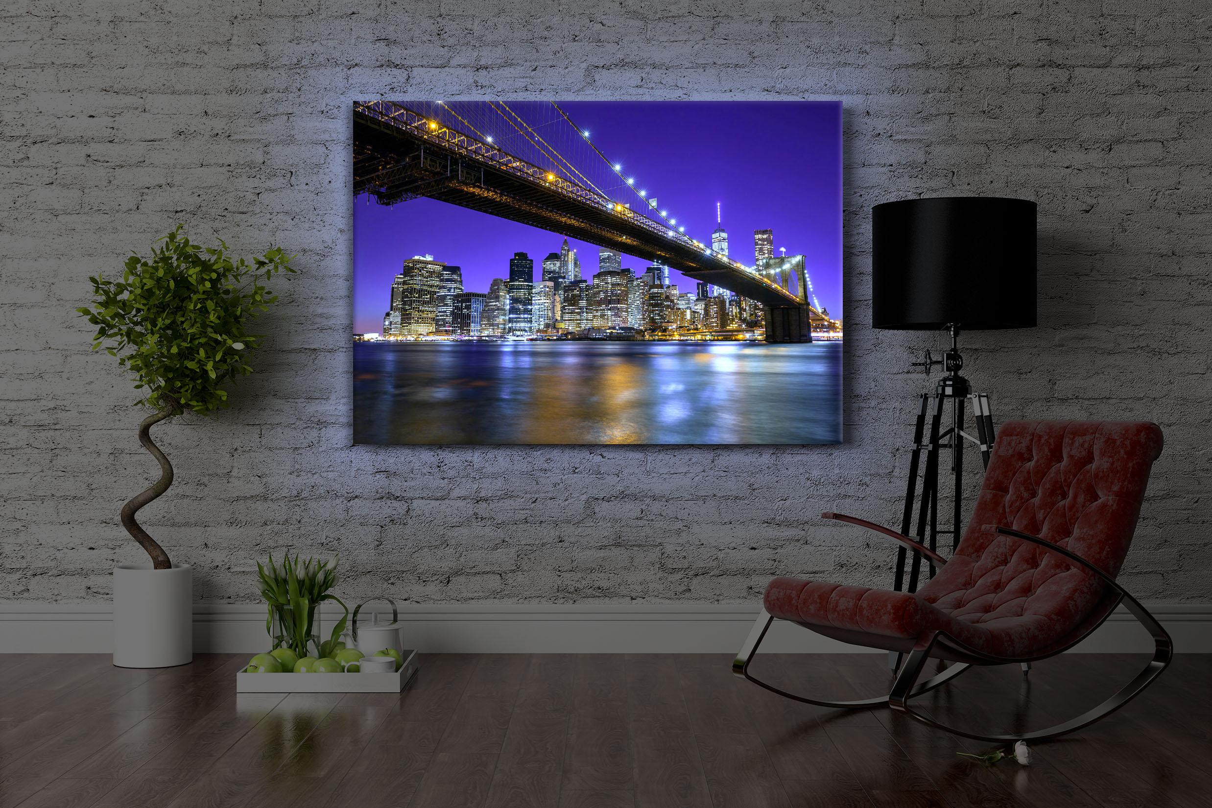 Quadro illuminato led la skyline di manhattan fully lighted ebay