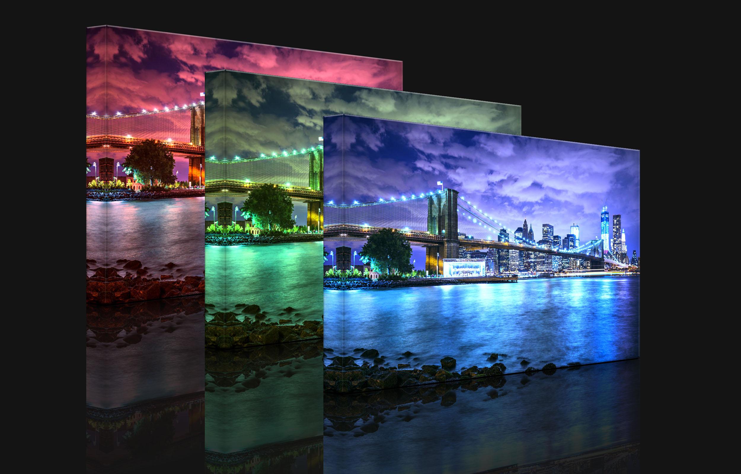 leuchtbild led bild skyline new york fully lighted ebay. Black Bedroom Furniture Sets. Home Design Ideas