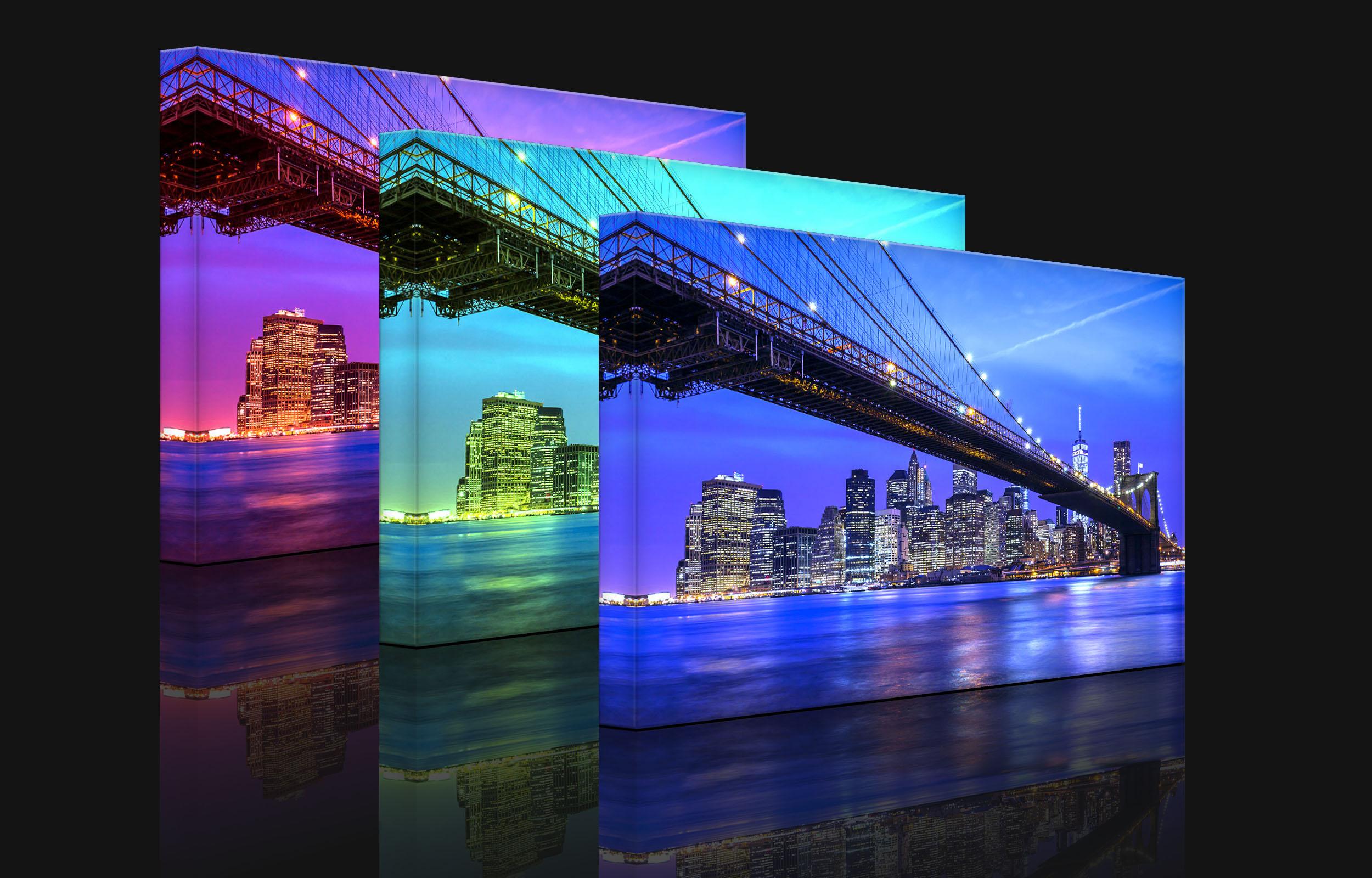 leuchtbild led bild new york brooklyn bridge fully. Black Bedroom Furniture Sets. Home Design Ideas