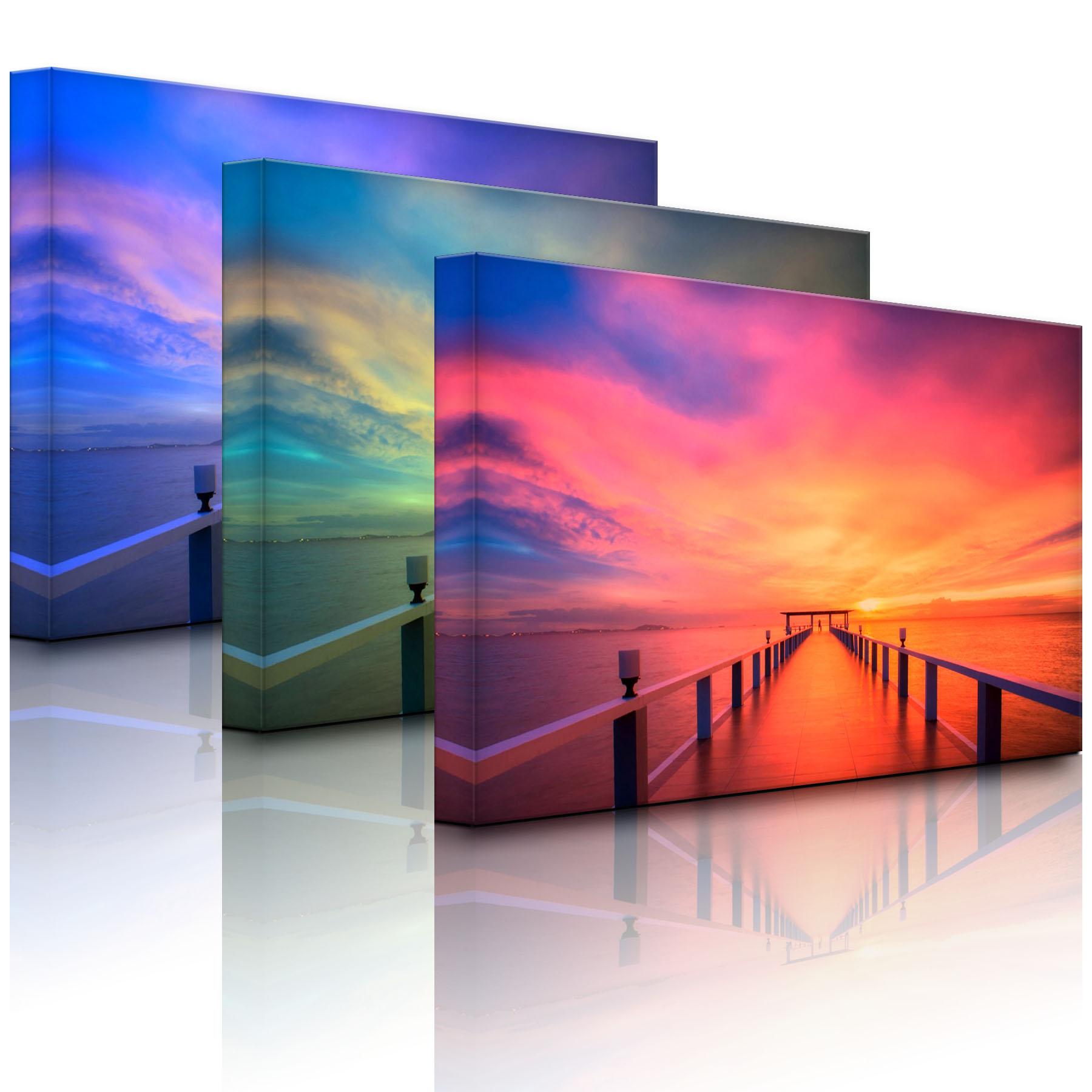 leuchtbild led bild langer steg mit vertr umtem himmel fully lighted ebay. Black Bedroom Furniture Sets. Home Design Ideas