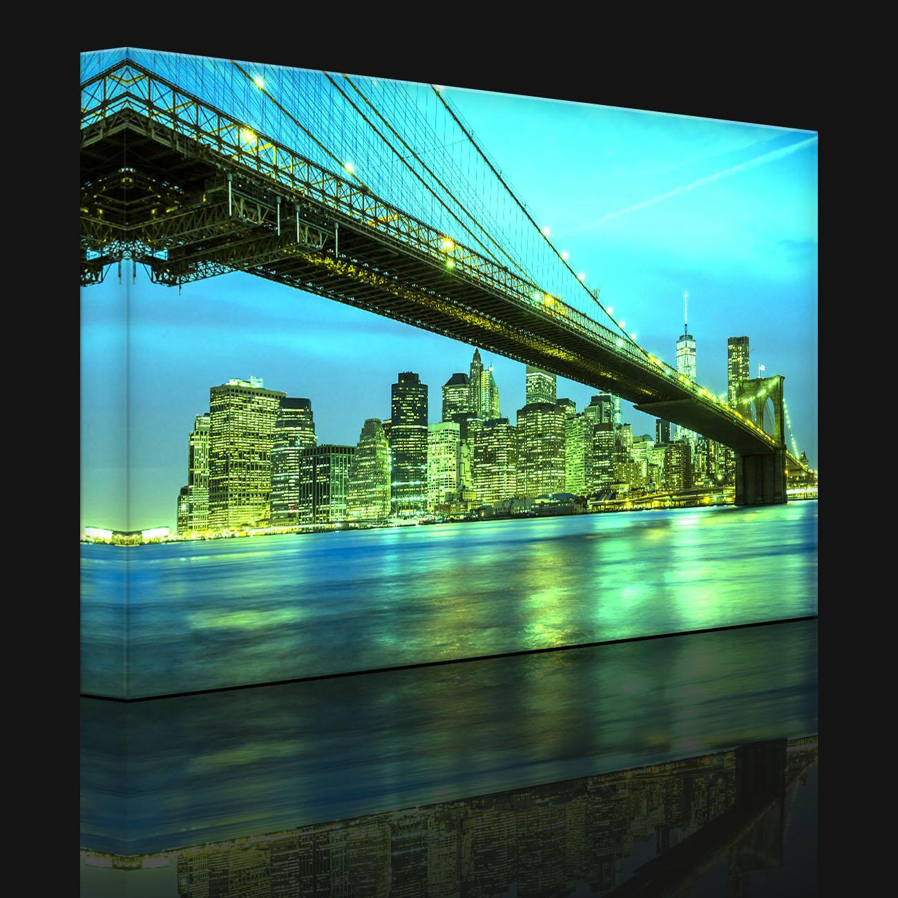 tableau illumin image led new york brooklyn bridge fully lighted ebay. Black Bedroom Furniture Sets. Home Design Ideas