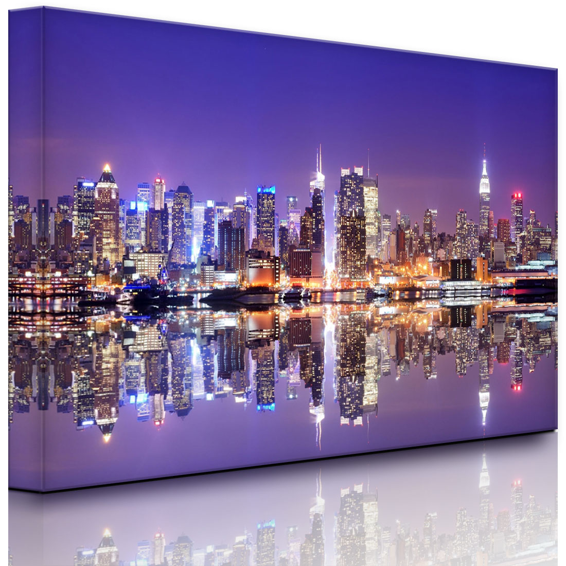 leuchtbild led bild manhattan skyline spiegelung fully lighted ebay. Black Bedroom Furniture Sets. Home Design Ideas