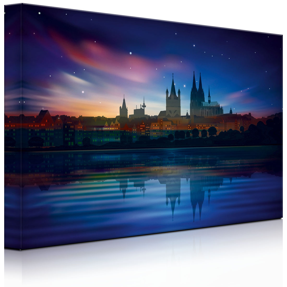 leuchtbild led bild polarlichter ber der skyline v fully lighted ebay. Black Bedroom Furniture Sets. Home Design Ideas