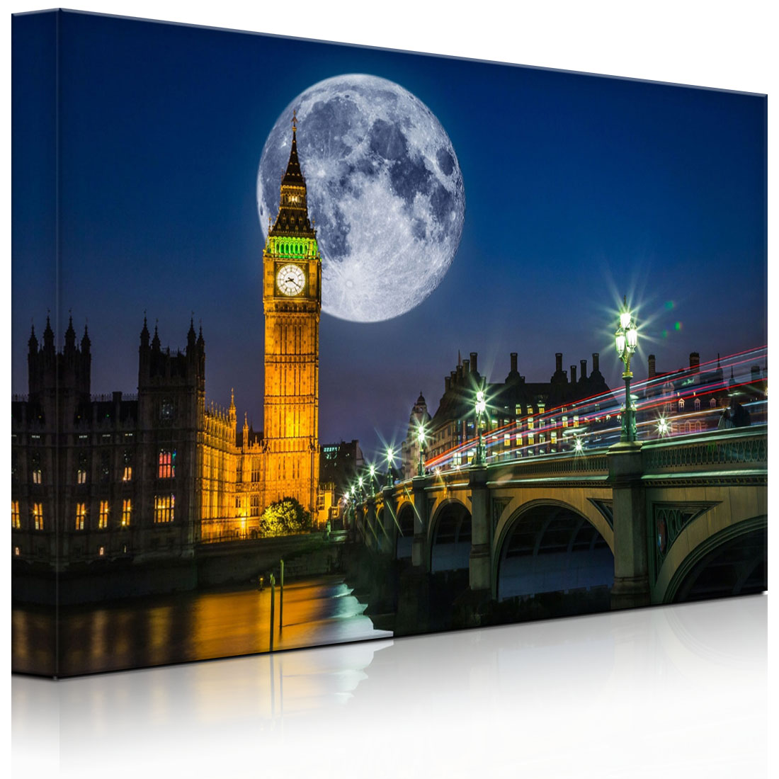 leuchtbild led bild big ben vor gro en mond in london. Black Bedroom Furniture Sets. Home Design Ideas